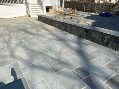Custom Patio Built of Oyster Blue Dimensional Stone