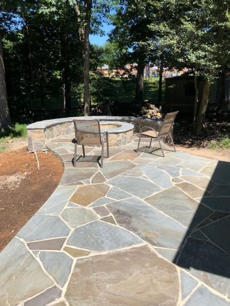 Irregular Flagstone Patio with Fire Pit - Outdoor Fire Pit Design & Installation J&J Landscape Management, Inc.