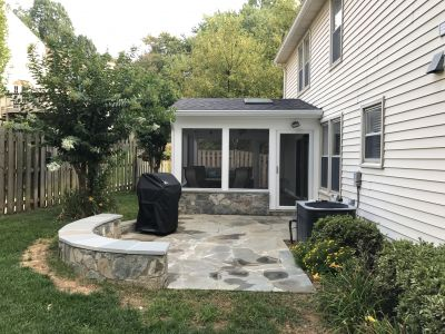 Irregular Flagstone Patio With Seat Wall