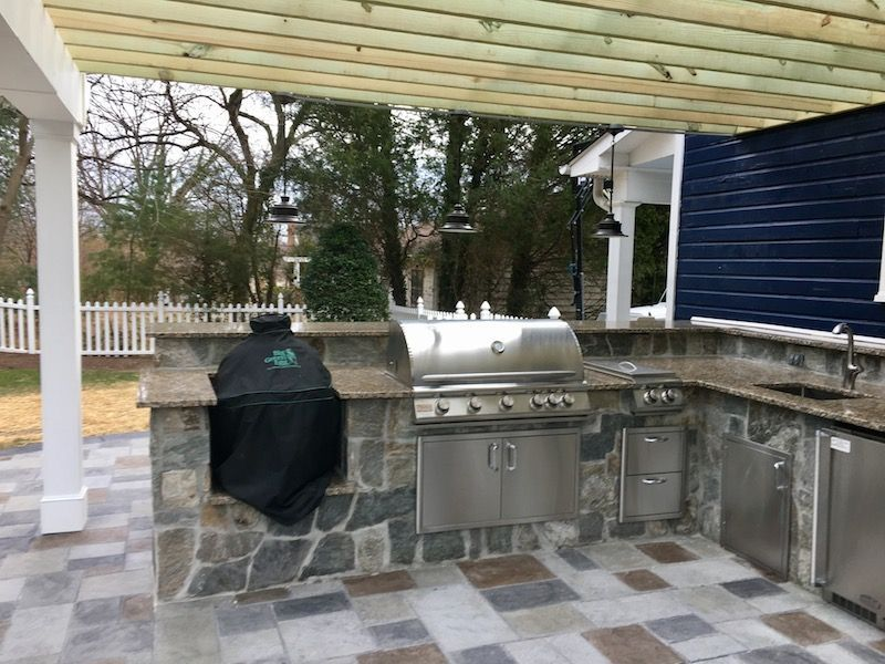 Custom Outdoor Kitchen Designs outdoor kitchen with green egg - outdoor designs