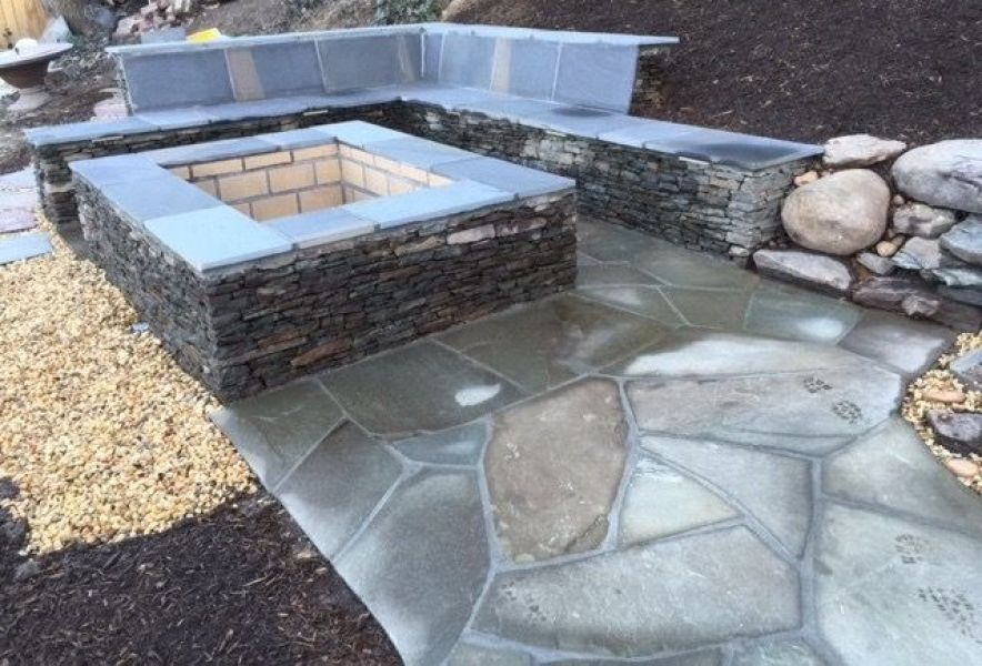Firepit Stacked Stone Fire Pit With Irregular Flagstone Patio