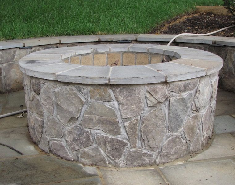 Maryland blend stone fire pit - Outdoor Fire Pit Design & Installation J&J Landscape Management, Inc.