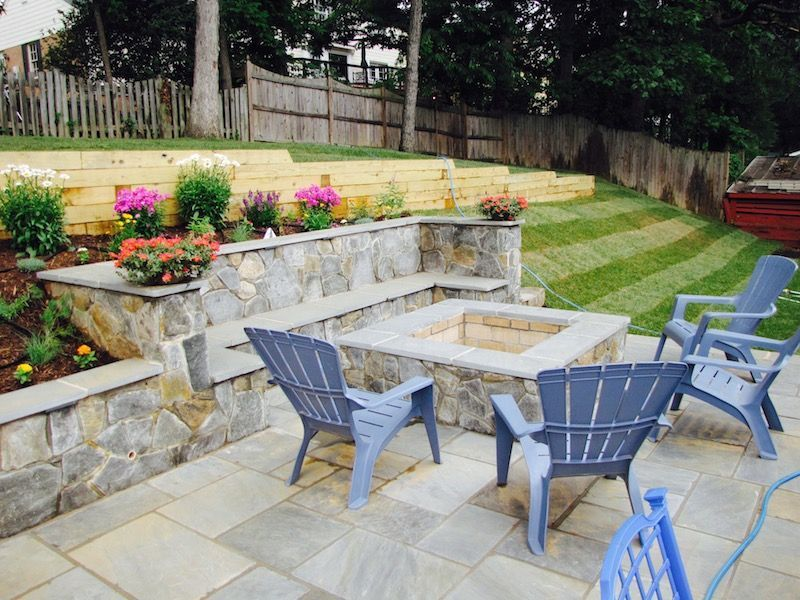 Dimensional Flagstone Patio With Maryland Blend Stone Walls And Fire Pit