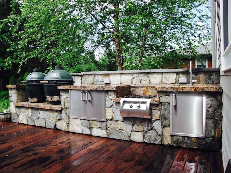 Perfect Outdoor Kitchen With Double Big Green Eggs And Fire Magic Appliances