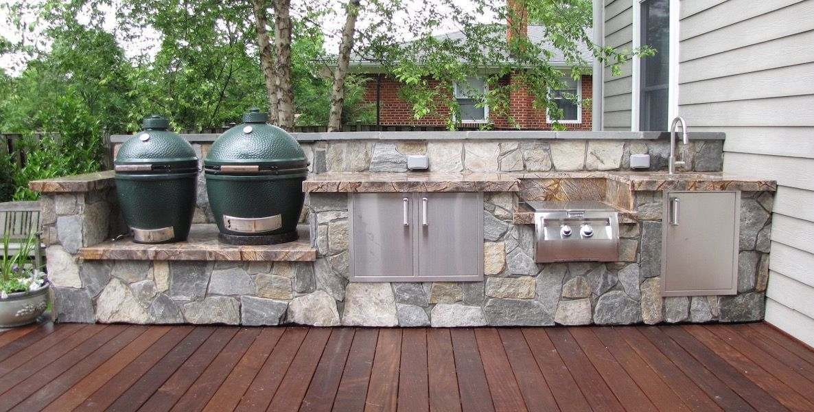 Outdoor kitchen designs installation j j landscape for Outdoor kitchen cabinets plans